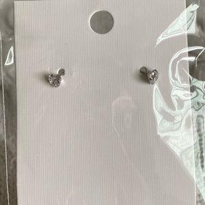 Jewelry - Very small cubic zirconia silver tone earrings.
